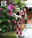 高級変わり織り綿麻浴衣3点セット 大正浪漫レッドに市松模様
