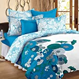 Story@Home Floral Print Premium Cotton Satin Soft And Light Weight Luxury Printed Reversible Double Size Comforter Microfibre filler, Blue