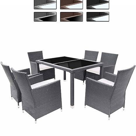 "Miadomodo Salotto giardino set tavolo e sedie giardino esterno in polyrattan 13 pezzi ""Classic"" grigio"