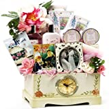 Art of Appreciation Gift Baskets Victorian Lace Tea, Spa & Treats Clock Gift Chest