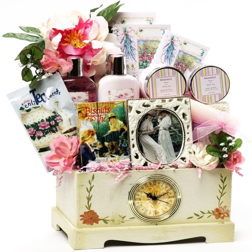 Victorian Lace Gourmet Food Gift Basket and Spa Set - the PERFECT gift for her!
