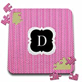 BrooklynMeme Designs - Pink and grey chevron monogram initial D - 10x10 Inch Puzzle (pzl_222040_2)