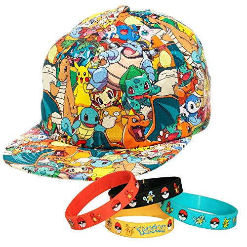 0714b129a00 Ultimate Pokemon Character Snapback Cap Hat with Bracelet