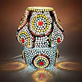 EarthenMetal Handcrafted Mosaic Decorated Dome Shaped Glass Table Lamp