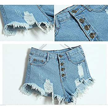 AORAEM Lady Women's Punk Rock Vintage Grunge Hole Water Wash Retro Shorts Jeans