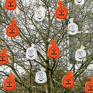 20 Orange White Hanging Pumpkins Ghosts Halloween Garden ...
