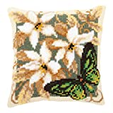 Vervaco Green Butterfly Cross Stitch Cushion Multi Colour
