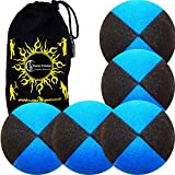 5x Pro Thud Juggling Balls - Deluxe (SUEDE) Professional Juggling Ball Set of 5 + Fabric Travel Bag! (Black/Blue)