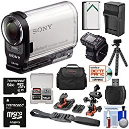 Sony Action Cam HDR-AS200VR Wi-Fi HD Video Camera Camcorder & Remote + 64GB Card + Helmet & Flat Surface Mounts + Battery/Charger + Case + Tripod Kit