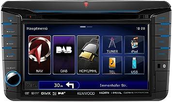 Kenwood système de navigation DNX-525DAB (VW, Seat et Skoda) - s'adapte Seat Alhambra ab 10, Seat Leon 10-12, Skoda Fabia ab 07, Skoda Octavia II ab 09, Skoda Rapid ab 09, Skoda Roomster ab 06, Skoda Superb II ab 08, Skoda Yeti ab BJ 2009, VW Amaro
