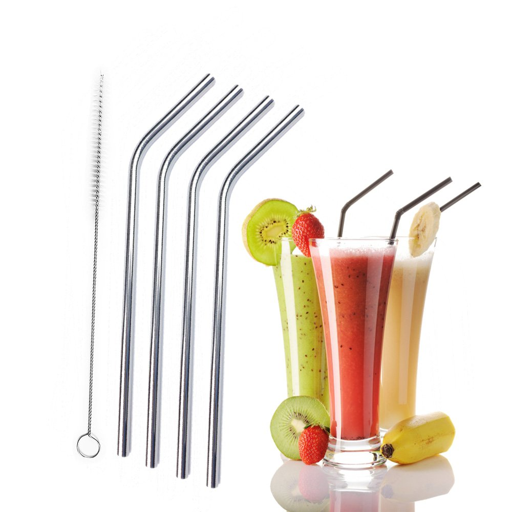 4 Stainless Steel Beverage Bend Straws,Perfect Smoothie Straws with Cleaning Brush,Strong Reusable Straws,Pack of 4 (8.5