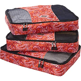eBags Large Packing Cubes - 3pc Set (Red Paisley)