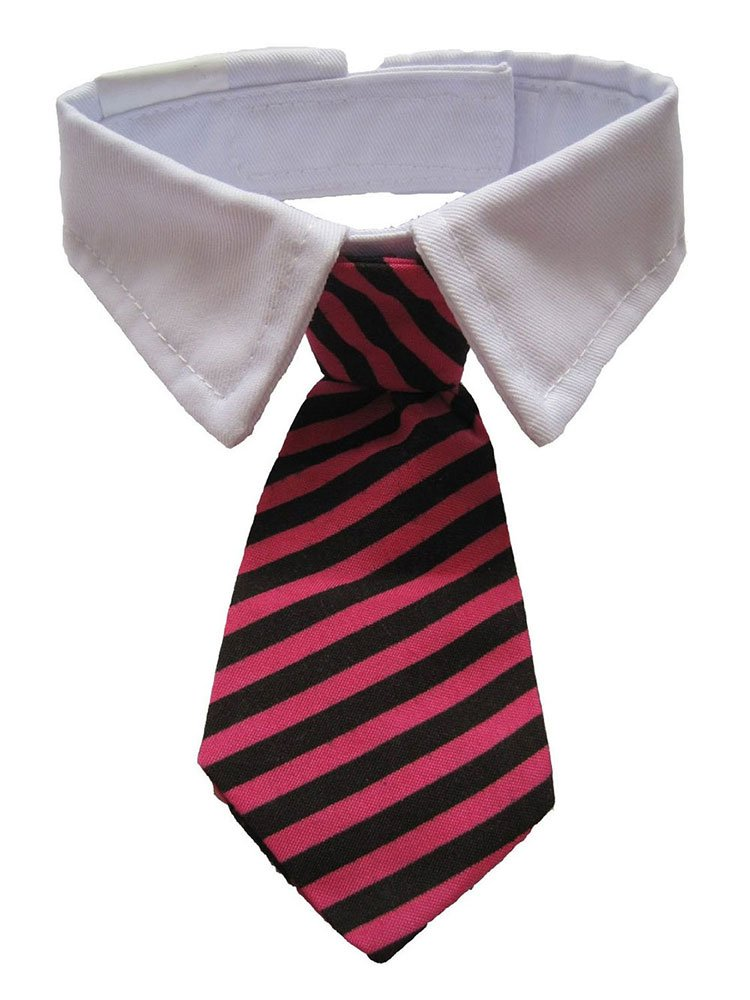 Vedem New Small Dog Cat Pet Stripe Bow Tie Neck Tie White Collar Choose Color
