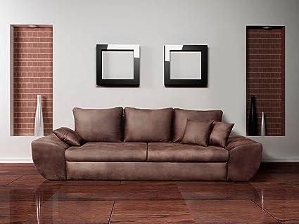 Big Sofa mit Schlaffunktion und Bettkasten im Vintage Look braun . Ruckenecht bezogen mit Wellenfederpolsterung, Maße: B/H/T ca. 272/90/96 cm