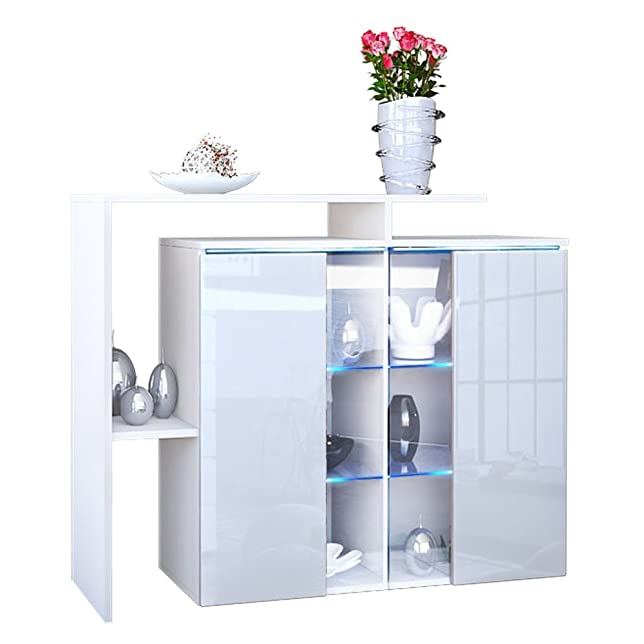 Comò moderno bianco Rock, mobile soggiorno con vetrina e led, credenza di design