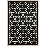 "Safavieh Courtyard Collection CY6916-226 Black and Beige Area Rug, 4 feet by 5 feet 7 inches (4' x 5'7"")"