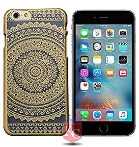 iPhone 6 Back Cover - 3D Beautiful Retro Hollow Out Carving Printed Flower Transparent Semi Hard Back Case for Apple iPhone 6 - Gold Colour