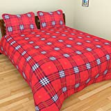 BRiDA Cotton Double Bedsheet with 2 Pillow Covers - Red, BRI123