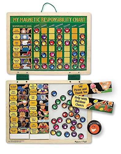 Melissa & Doug Deluxe Wooden Magnetic Responsibility Chart With 90 Magnets (Toddlers Responsibility Chart compare prices)