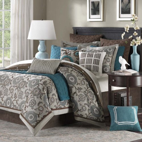 Grey And Turquoise Bedding 2796 front