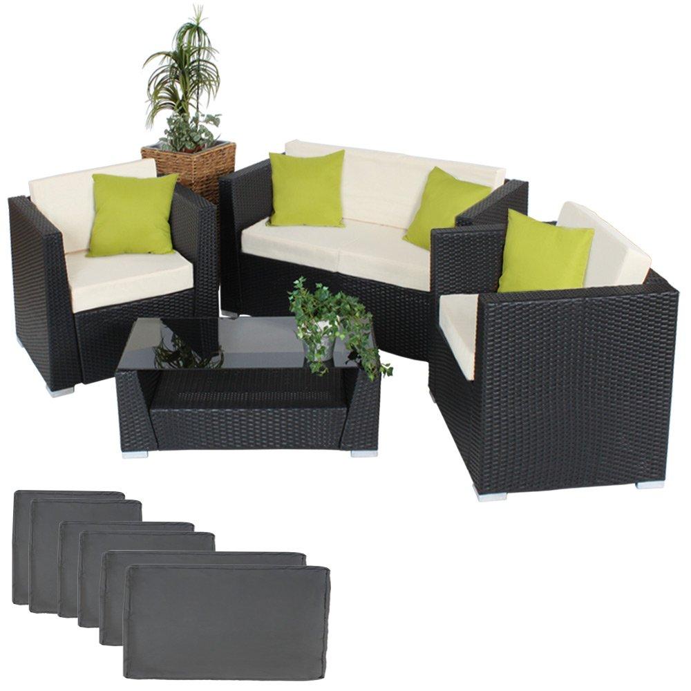 TecTake® Hochwertige Aluminium Luxus Lounge Poly-Rattan Sitzgruppe Sofa Rattanmöbel Gartenmöbel schwarz mit 2 Bezugsets und 4 extra Kissen mit Edelstahlschrauben günstig kaufen