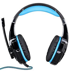 KOTION Each G9000 Headset 3.5mm Game Gaming Headphone Earphone with Microphone LED Light for Laptop Tablet Mobile Phones PS4 - Black + Blue (Color: Blue)