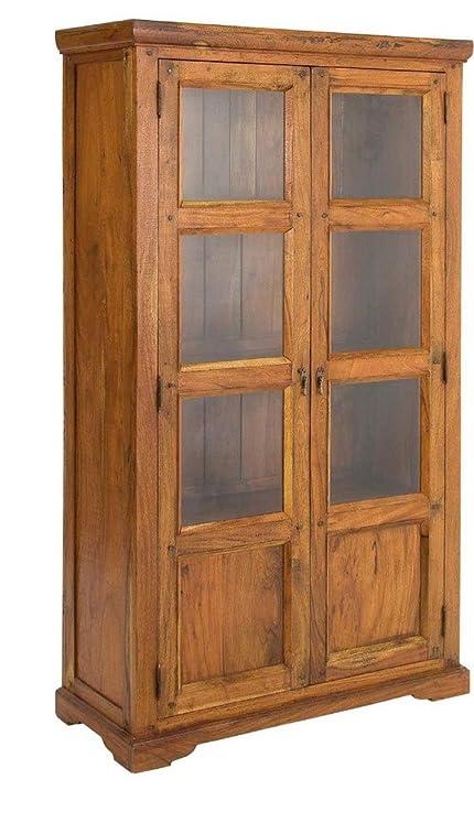 BIZZOTTO - Vetrina due ante legno dacacia indiano massiccio vetro 742739 L100h180p40cm
