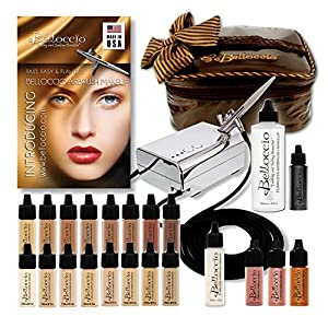 Complete Professional Belloccio Airbrush Cosmetic Makeup System with a MASTER SET of All 16 Foundation Shades in 1/4 oz Bottles