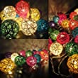 Multi Colour Rattan Ball Fairy Lights By Flowerglow - Energy Efficient, Warm White LED Bulbs With A 50,000 Hour Lifespan