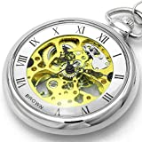[ブラウン]BROWN 懐中時計 メカニカル ポケットウォッチ 両面スケルトン 925J-SVGD メンズ