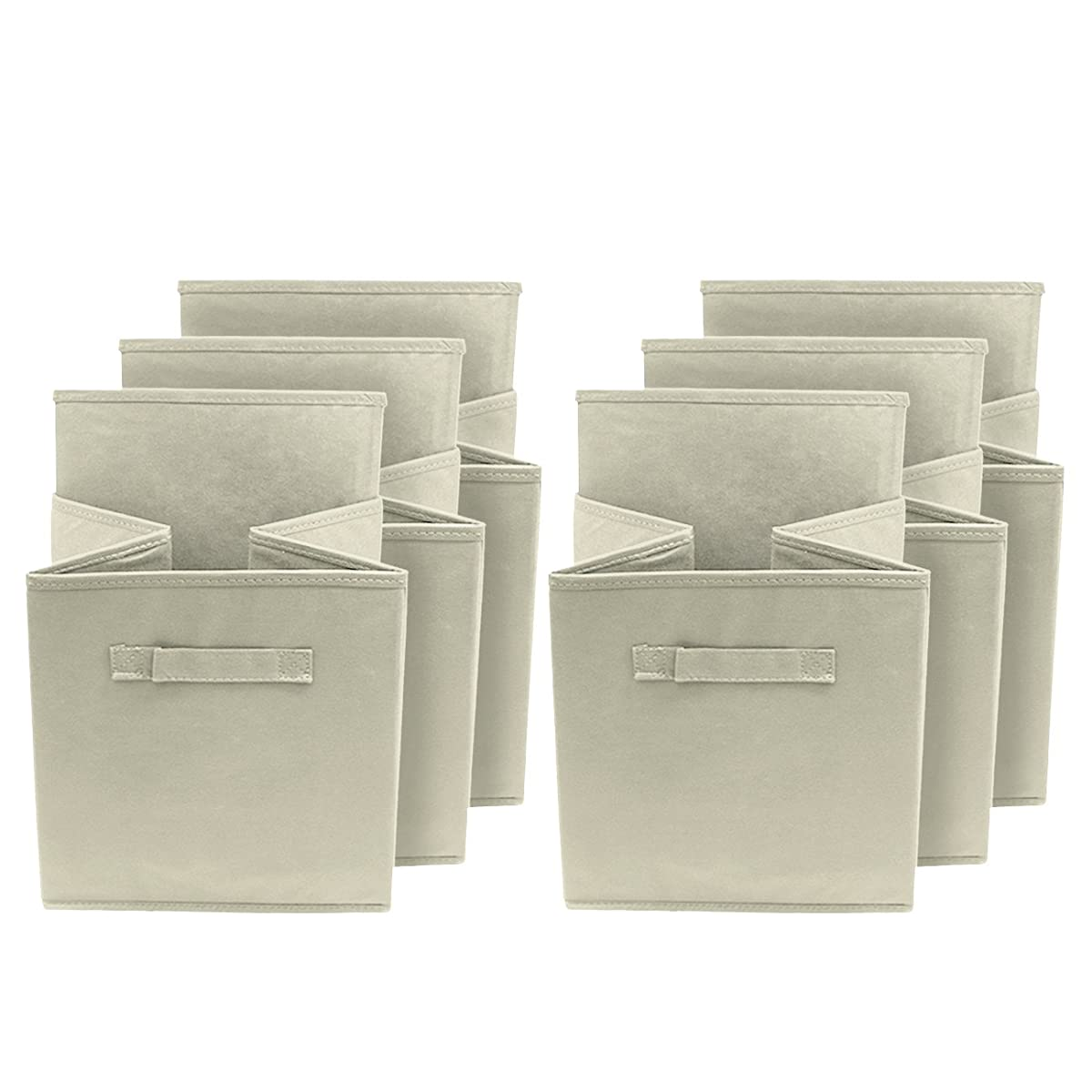 Sorbus Foldable Storage Cube Basket Bin, 6 Pack, Beige