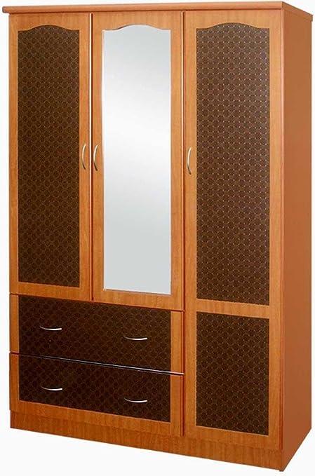 3 Doors 2 Drawers Cherry Wardrobe with Mirror