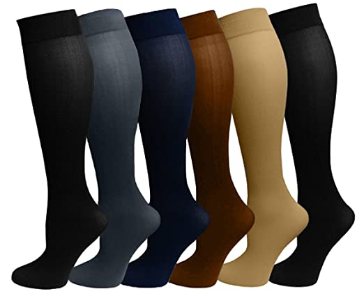 Ladies 6 Pair Pack Compression Socks (Assorted)