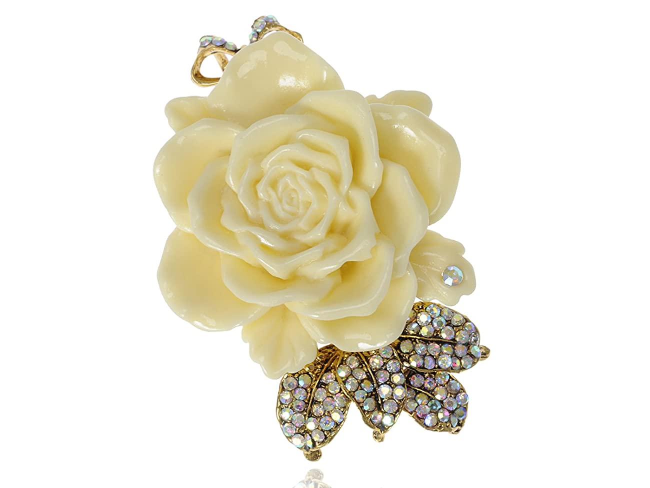 Vintage Inspired Tone Elegant Cream White Resin Enamel Rose Crystal Rhinestone Fashion Jewelry 0
