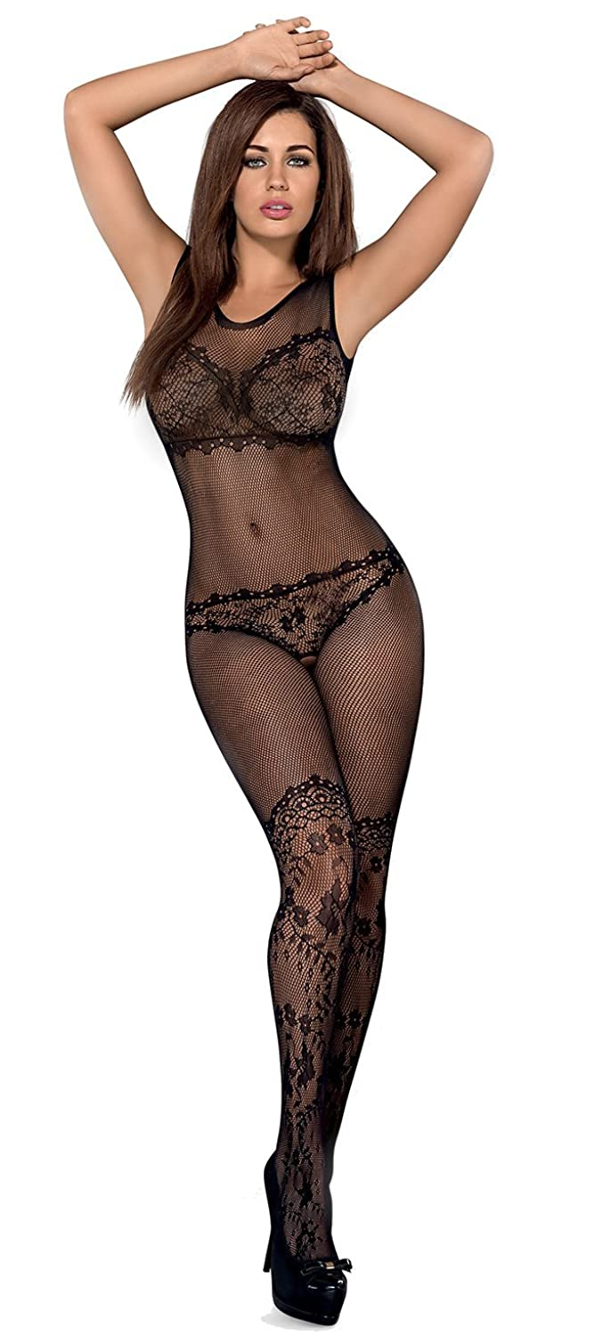 AT Bodystocking F215 Damen-Body Netz-Catsuit in schwarz von Obsessive Dessous