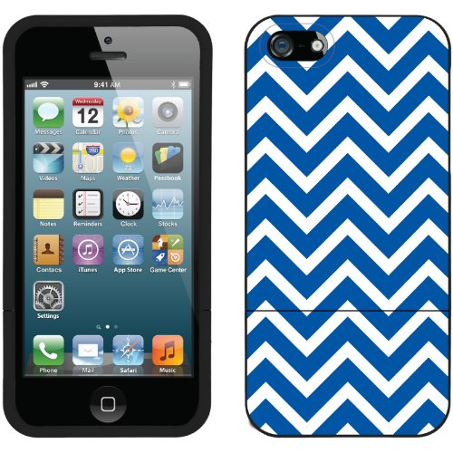 Great Price Blue and White Chevron design on a Black iPhone 5s / 5 Slider Case by Coveroo