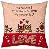 Valentine Gifts for Boyfriend Girlfriend Love Printed Cushion 12X12 Filled Pillow Cute Love Story of Owl Gift for Him Her Sweetheart Fiance