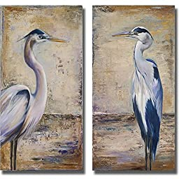Artistic Home Gallery 1224679S Blue Heron I & II by Patricia Pinto Premium Stretched Canvas Wall Art Set - 2 Piece