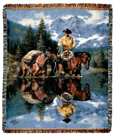 """Reflections Of The Rockies Cowboy & Horses Tapestry Throw Blanket 50"""" X 60"""""""