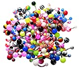 BodyJ4You® Belly Ring Assorted Lot of 100 Banana Piercing 14G Belly Button Rings Piercing Jewelry
