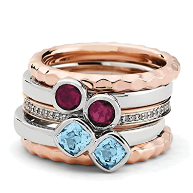 Black Bow Jewellery Company : Sterling Silver & 18K Rose Plated Deluxe Gemstone Ring Set