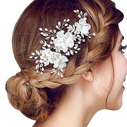 Happy Hours - Women Pearl Rhinestone Handmade Hairpins / Floral Shaped Design Barrette Clips for Wedding Prom Bridal Bridesmaid Jewelry Accessories(#1)