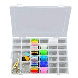 Ultimate Floss and Needle Threader Organizer - Embroidery Thread Box-Arts Crafts Organizer-Includes:Gold Plated Look Stainless Steel Scissors for Embroidery,Threaders,Bobbins and Other Gifts (Color: Gold)