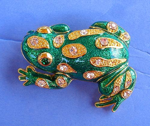 Vintage Green Frog Austrian Crystals Pin