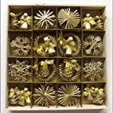 Christmas Straw Ornaments - Set of 48 pieces, Gold Finish