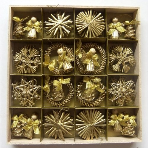 Image of Christmas Straw Ornaments - Set of 48 pieces, Gold Finish