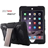 New iPad 9.7 inch 2017/2018 iPad 9.7 Case,Bpowe Heavy Duty Cover Case Silicone Plastic Dual Layer Shock Proof Drop Proof Dust Proof Kids Proof With Kickstand for Apple iPad 9.7 2017/2018 (black/black) (Color: black/black, Tamaño: 9.7 Inch)