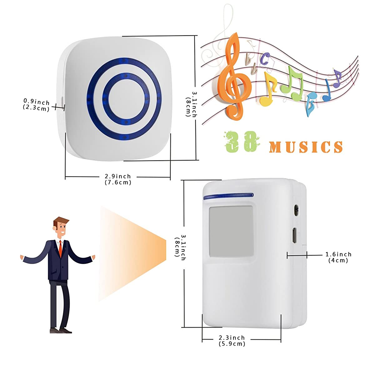 Wireless Driveway Alert Doorbell Home Security Alarm