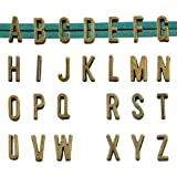 Youdiyla 5 Sets Alphabet Slide Letter Charm, Width 11mm, Antique Bronze Tone, Flat Leather