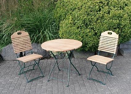 Klappgarnitur BAD TÖLZ 3-teilig im Kurgarten-Design, Stahl grun, Holz Robinie